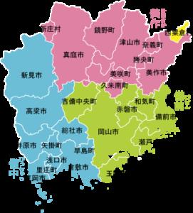 西粟倉村の岡山県での位置